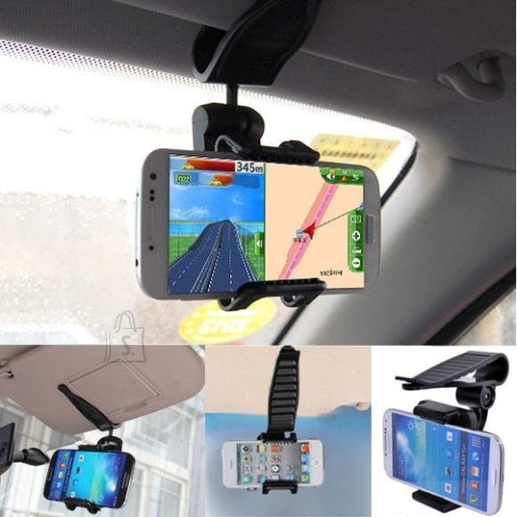 Universaalne telefonihoidik auto päikesesirmi jaoks.