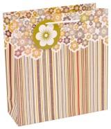 Kinkekott triibuline, lilledega