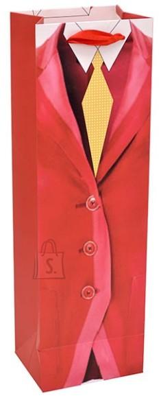 Pudeli kinkekott 12x39x9.5cm, punane