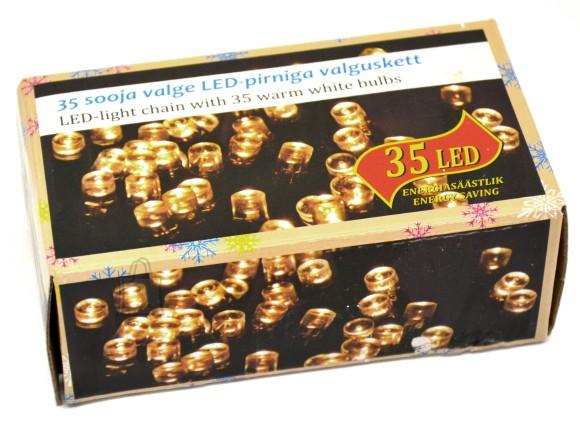 35 LED tulega kett, soe valge