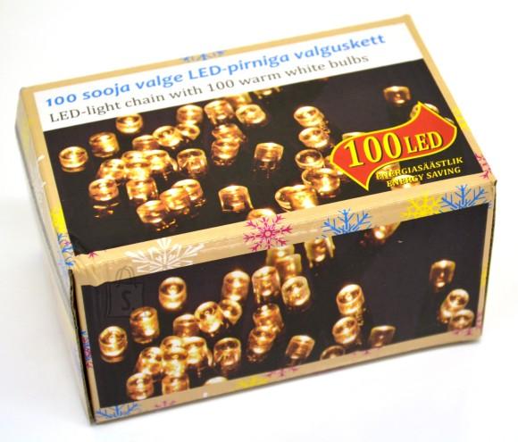 100 LED tulega kett, soe valge