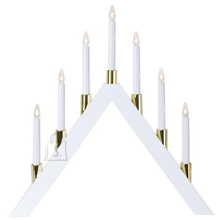 Puidust valge advendiküünal Halla 7 LED-tulega