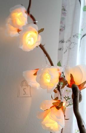 Valguskett suurte roosidega 8 LED-tulega