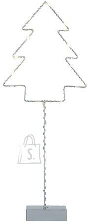 Metallist kuusesiluett 12 LED-tulega patareitoide
