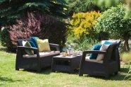 Allibert komplekt Corfu laud, diivan ja 2 tooli patjadega, pruun