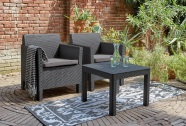 Keter Aiamööbli komplekt Orlando laud ja 2 tooli patjadega, graphite