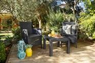 Keter Aiamööbli komplekt Rosario laud ja 2 tooli patjadega, graphite