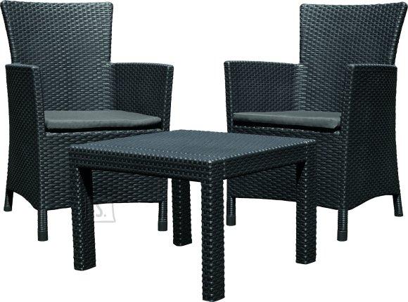 Allibert komplekt Rosario laud ja 2 tooli patjadega, grafiit