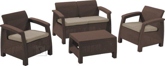Keter komplekt Corfu laud, diivan ja 2 tooli patjadega, pruun
