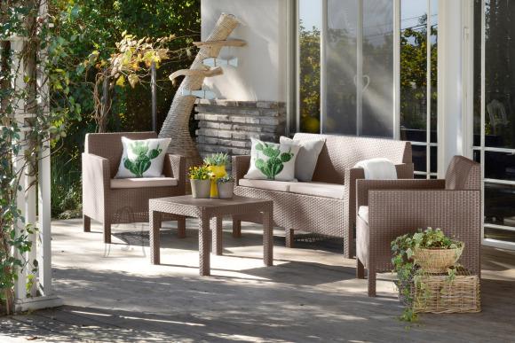 Keter Keter aiamööbli komplekt Orlando laud, diivan ja 2 tooli patjadega, cappucino