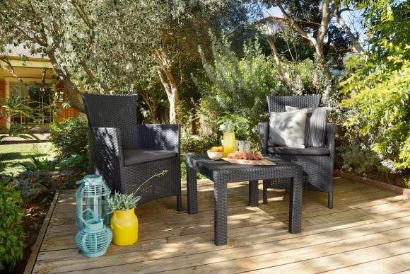Keter Keter aiamööbli komplekt Rosario laud ja 2 tooli patjadega, graphite