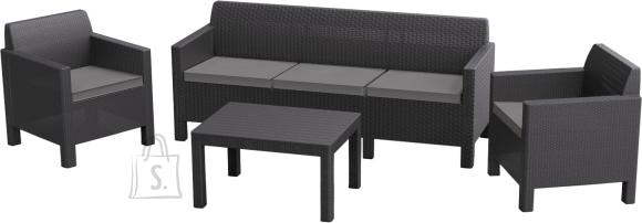 Keter Keter aiamööbli komplekt Orlando laud, diivan ja 2 tooli patjadega, graphite