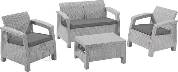 Keter Keter aiamööbli komplekt Corfu laud, diivan ja 2 tooli patjadega, helehall