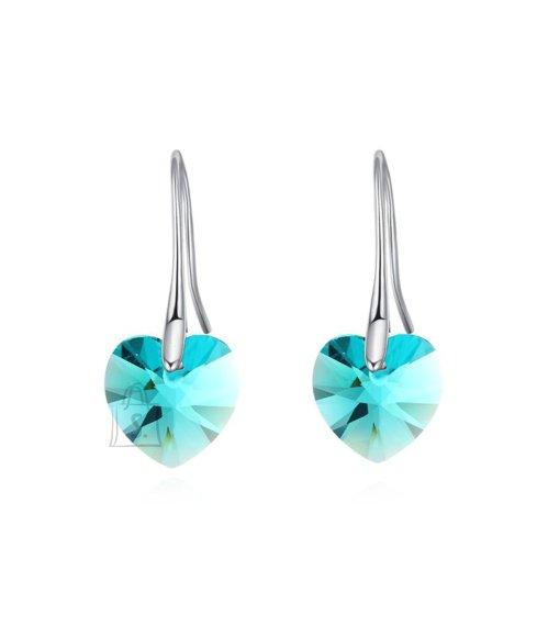 Sinise kristallist südamega kõrvarõngad