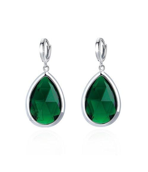 OiOi Rohelise rippuva kristalliga pikad kõrvarõngad
