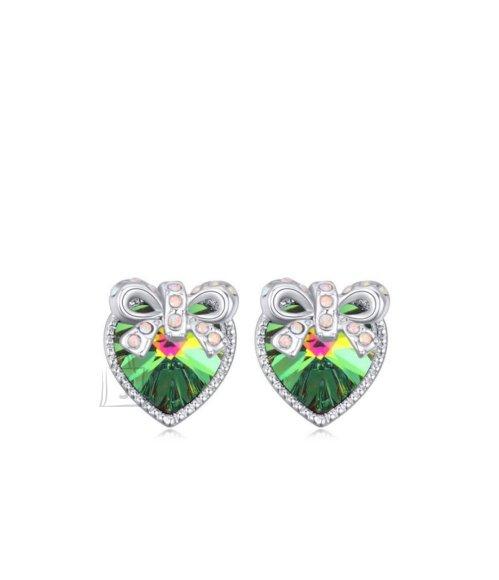 Rohelise südamekujulise kristalli ja lipsuga kõrvarõngad
