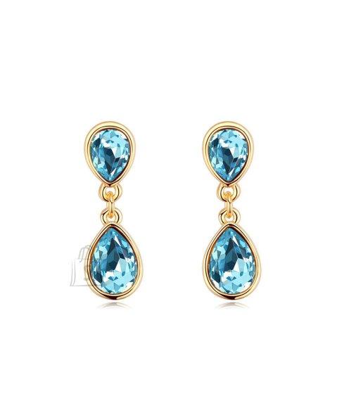 Sinise kristalliga rippuvad kõrvarõngad