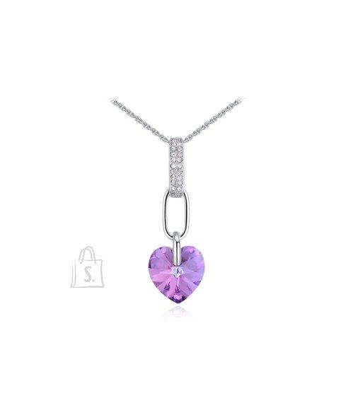 OiOi Lilla südame ja säravate kristallidega kaelakee