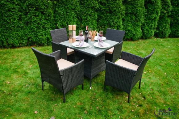 Bello Giardino aiamööbel Nero laud + 4 tooli
