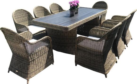 Bello Giardino aiamööbel Vero Grande laud + 8 tooli
