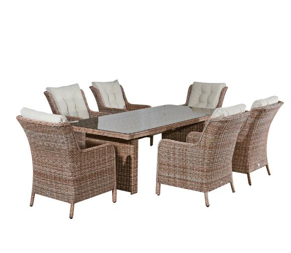 Bello Giardino aiamööbel Goccia laud + 6 tooli