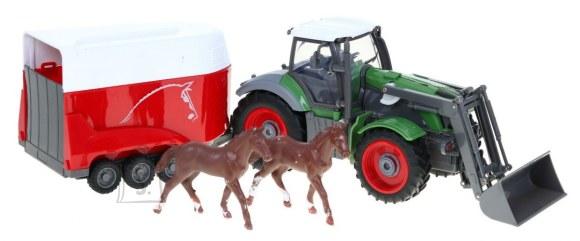 Raadioteel juhitav traktor järelhaagise ja hobustega