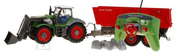 Raadioteel juhitav traktor punase järelhaagisega 1:28