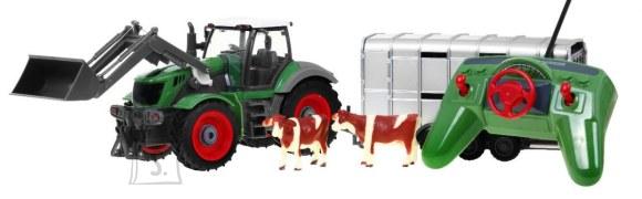 Raadioteel juhitav traktor järelhaagise ja lehmadega