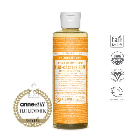 Dr. Bronner´s Citrus Orange Pure Castile Organic Soap - orgaaniline vedelseep, tsitrus