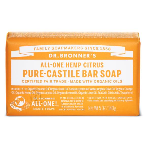 Dr. Bronner´s Citrus Orange Pure Castile Organic Bar Soap 140 gr - tsitruseline orgaaniline tükiseep