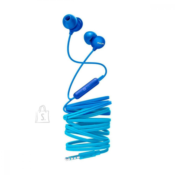Philips Philips UpBeat In ear headphones with mic SHE2405BL 8.6mm drivers/closed-back integrated mic Blue In-ear