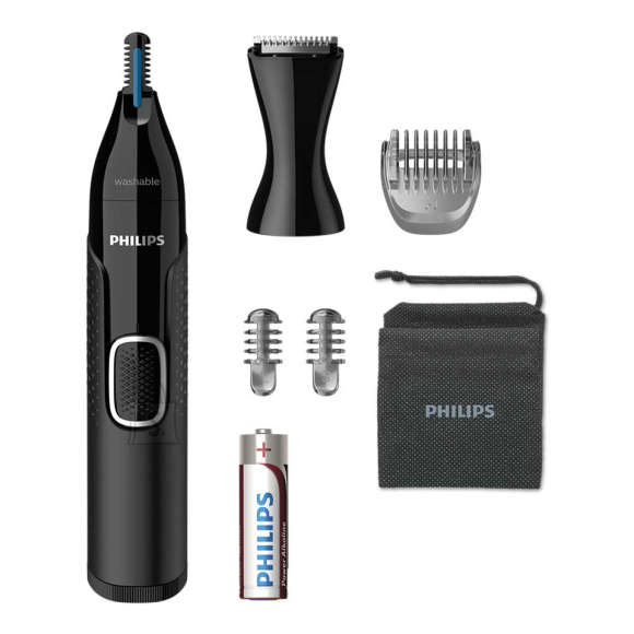 Philips Philips Nose and ear trimmer NT5650/16 100% waterproof, AA-battery included, , precision comb, 2 eyebrow combs 3mm/5mm, on/off button, black