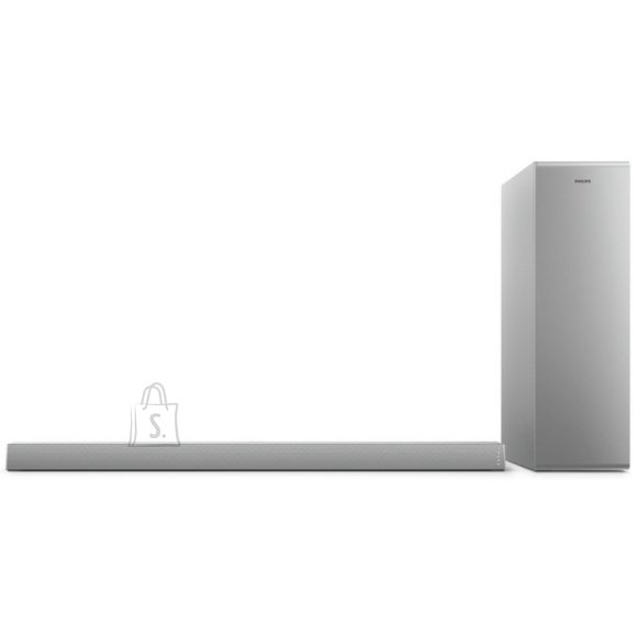 Philips Philips Soundbar speaker TAB6405/10, 2.1 CH wireless subwoofer, HDMI ARC, Dolby Audio, 140W, Silver color