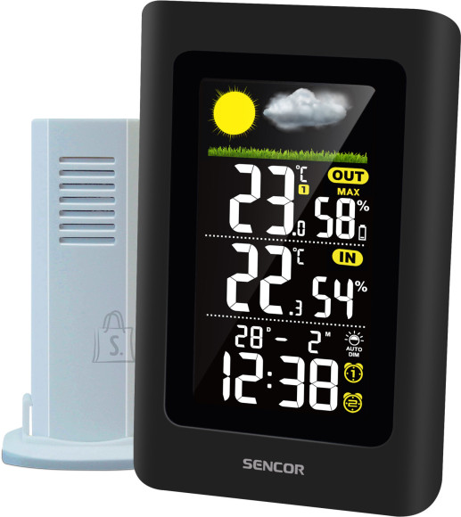 Sencor S??mbolitega ilmaennustus (p??ikeseline, vahelduva pilvisusega, pilves, vihmane, tormine)<div>12 ~ 24 tunni prognoos ??hur??hu muutumise (baromeetriline) p??hjal<br /></div><div><div>Sisetemperatuuri ja niiskuse n??it</div><div>V??listemperatuuri ja niiskuse n??it</div></div><div>H??rmatise m??rguanne</div><div>Maksimum / miinimum m??lu (k??sitsi l??htestamisega)<br /></div><div><div>Sisetemperatuuri vahemik: 0??C kuni +50??C</div><div>V??listemperatuuri vahemik: - 25??C kuni + 70??C</div></div><div>Sise- ja v??liskeskkonna ??huniiskus: 20???95% suhteline ??huniiskus<br /></div><div>Temperatuurin??it: ??C / ??F<br /></div><div>Kolmetasemeline ekraani heledus: Hi/Lo/Off<br /></div><div><div>Programmeeritav automaatne h??mar taustvalgus (????re??iim)</div><div>Digitaalne kellaaeg ja kuup??ev</div><div>Kahekordne alarm</div><div>??ratuse edasil??kkamise funktsioon</div><div>12/24 tundi valitav vorming</div><div>V??rviline LCD-ekraan</div><div>T????lauale paigaldatav</div><div>Traadita anduri aku t??hjenemise indikaator</div><div>Kuni 3 anduri tugi</div><div>K??igi kolme v??lisanduri m????detud andmete automaatse kerimise funktsioon</div><div>Komplektis 1 andur (SWS TH270-4270-5270)</div><div>Signaali edastuskaugus kuni 50 m avatud alal</div><div>Juhtmeta andur 433 MHz</div><div>P??hiseadme patareid: 3 x 1,5 V t????p AAA (patareid ei kuulu komplekti)</div><div>P??hiseadme toiteadapter: alalisvool 5 V / 600 mA (kaasas), tarbimine: &lt;1 W</div><div>Anduri v??imsus: 2 x 1,5 V t????p AAA (patareid ei kuulu komplekti)</div><div>P??hiseadme m????tmed (L / K / P): 94 x 146 x 50 mm</div><div>P??hiseadme kaal: 155 g</div></div><br /> <br /><br /><br /> Toote kaal: <strong>0.16 Kg</strong><br />