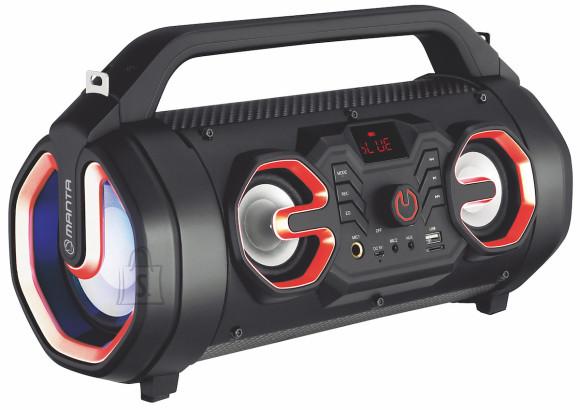 <div>Kaasaskantav Manta SPK206 Bluetooth-k??lar peidab oma kompaktses korpuses peaaegu k??iki suuremates Manta Party Audio k??larites olevaid funktsioone. Sisseehitatud laetav aku, suur v??imsus, karaoke funktsioon, Disco LED, kaugjuhtimispult on vaid m??ned muusikakeskuse eelised.??</div><div>T??iuslik helikvaliteet (RMS 18 W) t??nu aktiivk??laritele tagab kitarri magnetiseeriva heli t??iusliku taasesituse ja trummide tugeva l????gi. Parendatud madalate toonide kvaliteet ja suurendatud heli keskmised sagedused toovad vokaali palju paremini esile. Eelseadistatud ekvalaiseri abil saate reguleerida k??lari t??mbrit kuulatava muusika j??rgi.</div><div><div>??hendage oma nutitelefoni, s??learvuti v??i tahvelarvuti energias????stlikuma Bluetooth 5.0 abil ning taasesitage heli veelgi parema kvaliteediga heli.</div></div><div>K??larimembraanide valgustamine vastavalt m??ngitava muusika r??tmile pulseeritvate RGB LED-idega, tekitab tunde, nagu oleksite t??elisel diskol! Vaatamata kompaktsele suurusele onk??lar varustatud ka karaoke funktsiooniga. Lihtsalt ??hendage mikrofonid, l??litage muusika sisse ja nautige. Laulge soolot v??i duetti ning salvestage oma esinemised k??lariga ??hendatud USB-m??luseadmele.??</div><div>Kui soovite kuulata oma lemmikraadiosaadet, v??imaldab sisseehitatud FM-tuuner 20 jaama m??luga seda teha. ??he nupuvajutusega otsitakse ja salvestatakse raadiojaamu. N????d peate vaid valima oma lemmiku ja kuulama.</div><div>Taasesitus: MP3, WMA, WAV</div><div>??henduvus: USB / TF / 2xMIC / AUX<br /></div><div>Funktsioonid: Disco LED RGB valgusefektid, ekvalaiser, karaoke, akupank, FM-raadio</div><div>Sagedus:??40Hz-20KHz</div><div><div>Tundlikkus: 90 dB / - 3 dB</div><div>Toide: 5 V DC,?? sisseehitatud aku, aku kestvus kuni 3 tundi</div><div>Komplektis: kaugjuhtimispult, manuaal, micro-USB kaabel, AUX-kaabel, rihm</div><div>M????tmed (cm): 35x16,5x20??</div></div><br /> <br /><br /><br /> USB liides: <strong>+</strong><br /><br /> Bluetooth: <strong>5.0</st