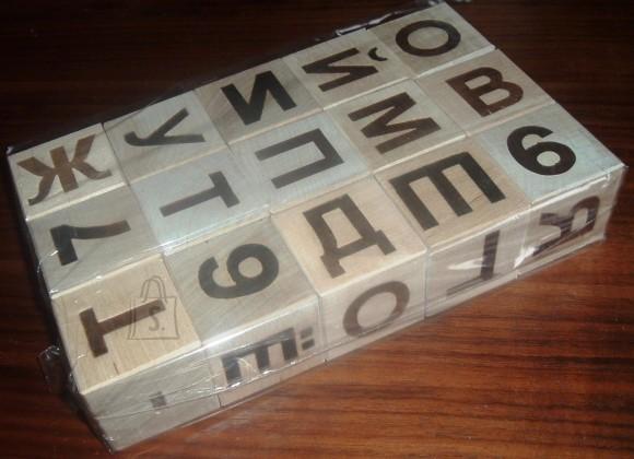0003. Puitklotsid tähtede ja numbritega 15tk (Vene tähestik)