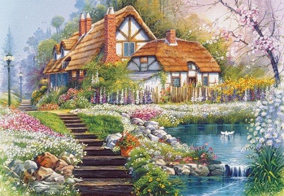 Castorland 300327. Puzzle 3000 Cottage with Swans,Andres Orpinas
