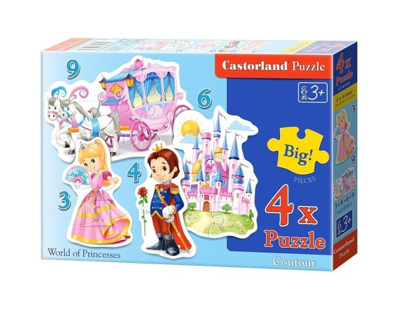 Castorland Puzzle 4 pilti (3+4+6+9) World of Princesses 005031