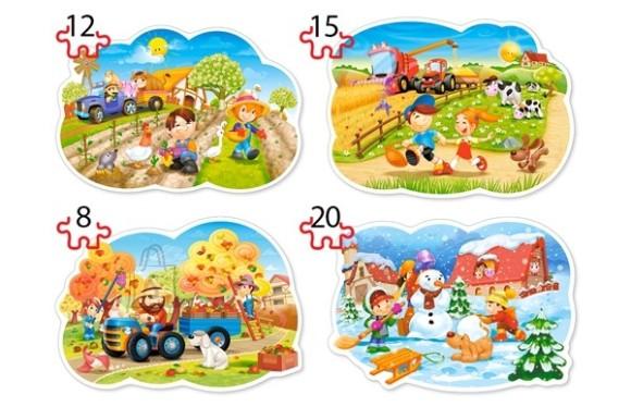 Castorland Puzzle 4 pilti (8+12+15+20) Neli aastaaega 043019