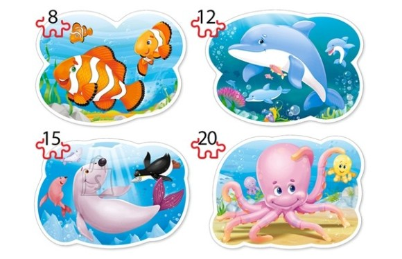 Castorland Puzzle 4 pilti (8+12+15+20) Underwater World 043026