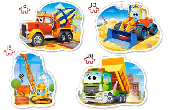 Castorland Puzzle 4 pilti (8+12+15+20) Construction Vehicles 043040