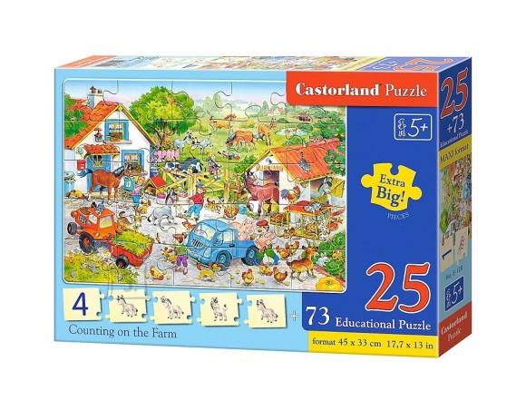 Castorland E-128. Puzzlepildid numbrid ja loomad + puzzle 25 osa