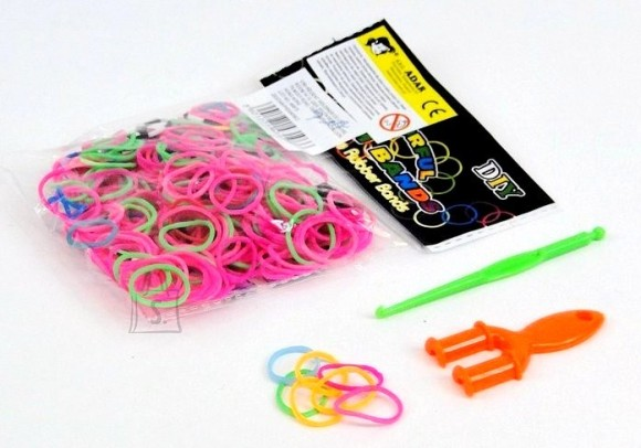 HEEGELDUS - PUNUMISKUMMID 300tk NEOON COLORFUL LOOM BANDS 8487