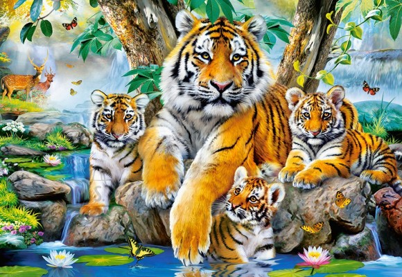 Castorland 104413. Puzzle 1000 Tigers by the Stream