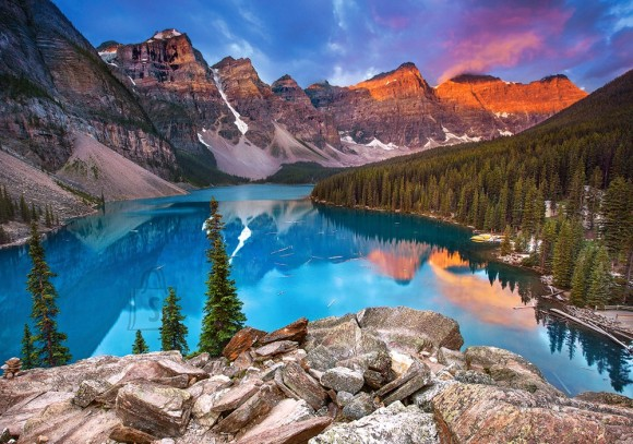 Castorland 53001. Puzzle 500 Sunrise at Moraine Lake, Canada