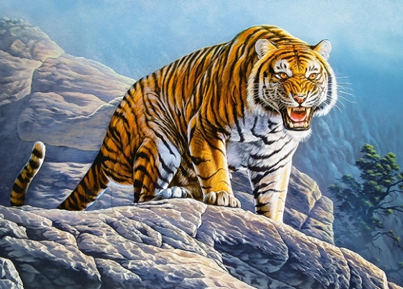 Castorland 18451. Puzzle 180 Tiger on the Rock