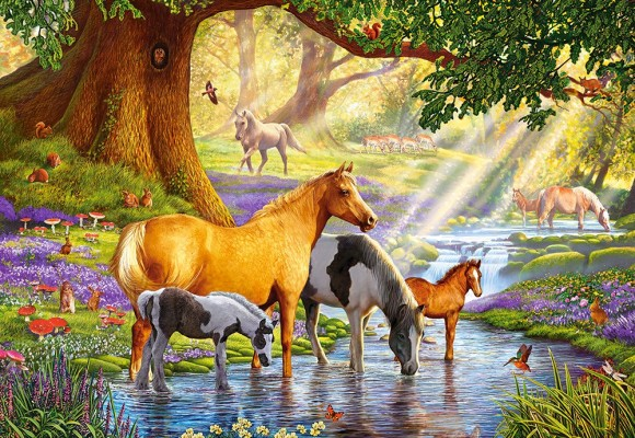 Castorland Puzzle 1000 HORSES BY THE STREAM 103737