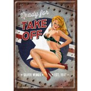 NostalgicArt metallist postkaart Pin Up Ready for Take Off