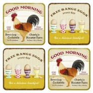 NostalgicArt retro klaasialused Good Morning/Free Range Eggs 4tk