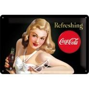 NostalgicArt metallplaat Coca-Cola Refreshing Naine